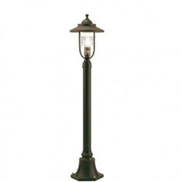 Lampada palo piccolo basso E27 color ruggine per giardino, lampade pali da esterno Sovil della linea porto.