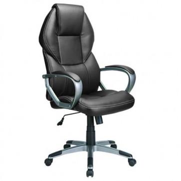 Sedia ufficio ergonomica presidenziale nera, poltrona direzionale con braccioli e ruote.