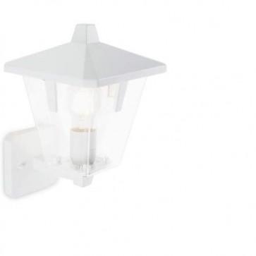 Applique lampada in alto da parete E27 colore bianco da giardino, lampade per esterno Sovil della linea Eureka.