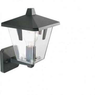 Applique lampada in alto da parete E27 colore nero da giardino, lampade per esterno Sovil della linea Eureka.
