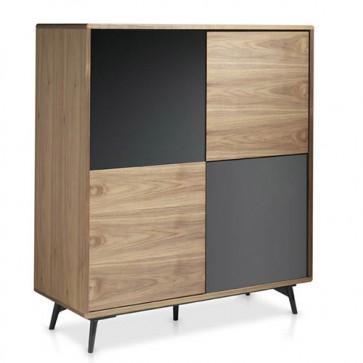Credenza moderna Angel Cerdà in legno e vetro. Mobile soggiorno classico in noce, dimensioni 110x45x124 cm.