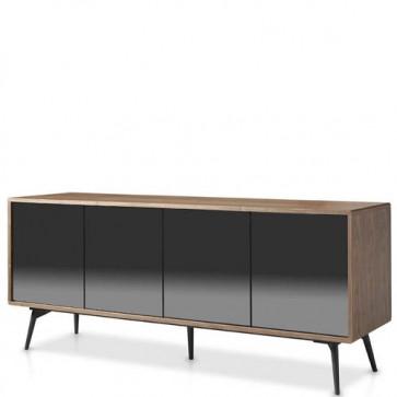 Credenza moderna Angel Cerdà in legno e vetro. Credenze mobile tv noce con 4 ante, ideale per soggiorno e cucina