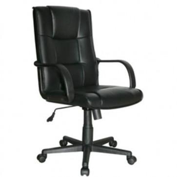 Sedia ufficio presidenziale girevole in PVC nero, poltrona direzionale con braccioli e schienale per scrivania.
