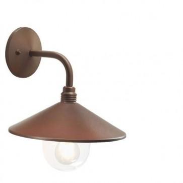 Applique lampada da parete E27 corten da giardino, lampade in alluminio per esterno Sovil della linea Spectre.