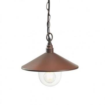 Lampada a sospensione E27 Sovil, colore corten per giardino. Lampadario sospeso in alluminio da esterno.