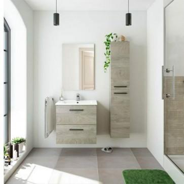 Kit mobile bagno moderno sospeso Aruba. Mobili bagno Fores sospesi in legno, colore rovere completo di specchio.