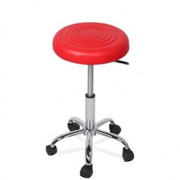 Sgabello cromato per scrivanie, sgabelli design con ruote per ufficio e cucina.