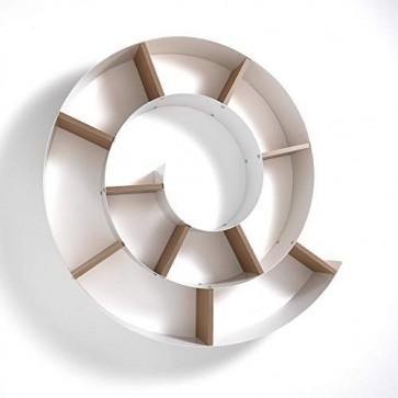 Mensola porta cd chiocciola Tomasucci. Mensole da parete in metallo verniciato bianco lucido, utile per contenere libri e Cd
