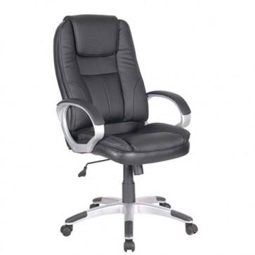Sedia ufficio in ecopelle girevole. Poltrona direzionale nera, con braccioli e ruote per scrivania.