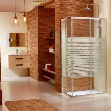 Box doccia angolare altezza 185 cm. Cabina doccia bagno con cristallo serigrafato 6 mm e profilo in alluminio cromato liscio