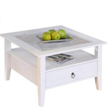 Tavolino salotto bianco in legno massello con ripiano in vetro e cassetto, tavolini soggiorno