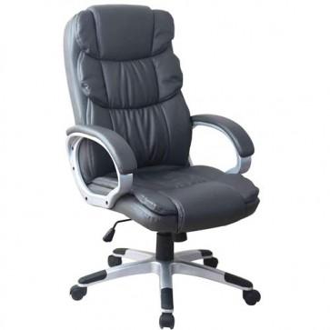 Sedia scrivania girevole in ecopelle. Poltrona direzionale ufficio grigio, con braccioli e ruote.