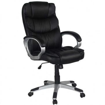 Sedia scrivania girevole in ecopelle. Poltrona direzionale ufficio nera, con braccioli e ruote.