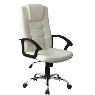Poltrona direzionale ufficio girevole in ecopelle. Sedia presidenziale beige, con braccioli, schienale e ruote per scrivania.