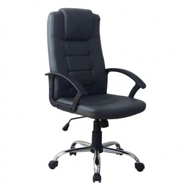 Poltrona direzionale ufficio girevole in ecopelle. Sedia presidenziale nera per scrivania, con braccioli, schienale e ruote.
