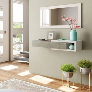 Mobile ingresso Fores con specchio. Mobili entrata design moderno con cassetto e specchi, dimensioni 19x95x26 cm.