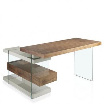Scrivania per pc Angel Cerdà moderna in legno, scrivanie porta computer in vetro temperato per ufficio e casa.