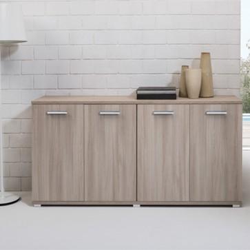 Credenza buffet cucina 80x180x45 cm. Mobile multiuso 180 cm olmo con 4 ante, ideale in soggiorno e sala da pranzo.