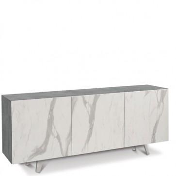 Credenza buffet moderna cemento con tre ante marmo calacatta. Mobili credenze basse moderne in legno, ideali in cucina e sala da pranzo.