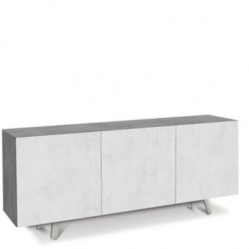 Credenza buffet moderna cemento con tre ante bianco ossido. Mobili credenze basse moderne in legno, ideali in cucina e sala da pranzo.