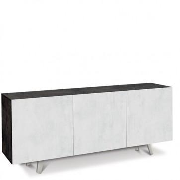 Credenza buffet moderna nera con tre ante bianco ossido. Mobili credenze basse moderne in legno, ideali in cucina e sala da pranzo.