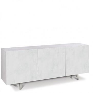 Credenza buffet moderna bianca con tre ante bianco ossido. Mobili credenze basse moderne in legno, ideali in cucina e sala da pranzo.