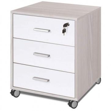 Cassettiera scrivania ufficio in legno 3 cassetti olmo e bianco fiammato, con serratura e ruote
