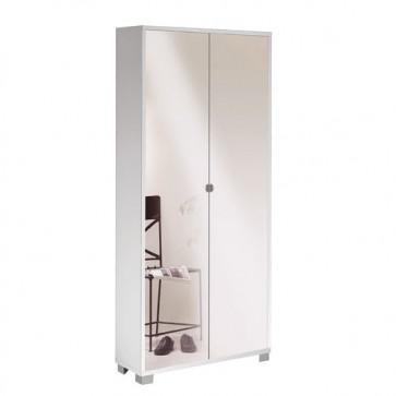 Mobile scarpiera multiuso bianco con 8 ripiani regolabili, dimensioni 83x29x190 cm. Armadio Scarpiere a due ante con specchio naturale