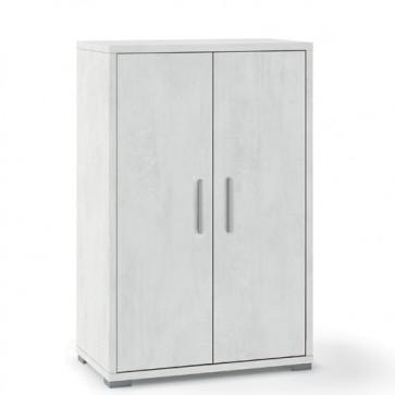 Mobile multiuso Sarmog con 2 ripiani regolabili. Armadio ufficio bianco ossido con 2 ante, misure 110x71x41 cm.
