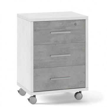 Cassettiera scrivania ufficio in legno 3 cassetti in cemento, con serratura e ruote. Cassettiere scrivanie bianca per arredamento camerette con rotelle e chiave