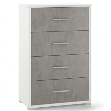Cassettiera cemento e bianca con 4 cassetti in legno nobilitato. Armadio settimino ideale per ufficio e camera da letto