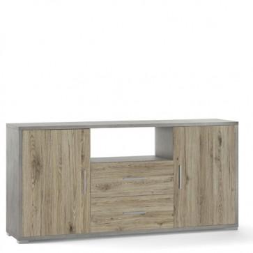 Mobile porta TV Sarmog con due cassetti. Mobili ufficio cemento con due ante in rovere naturale