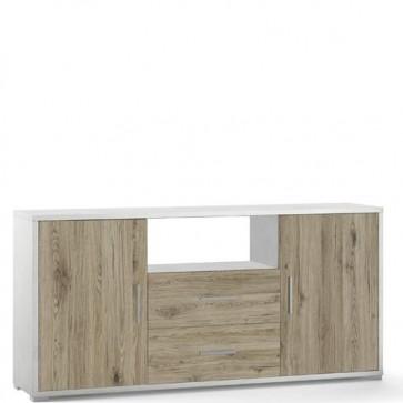 Mobile porta TV Sarmog con due cassetti. Mobili ufficio bianco con due ante in rovere, misure 174x41x84 cm.