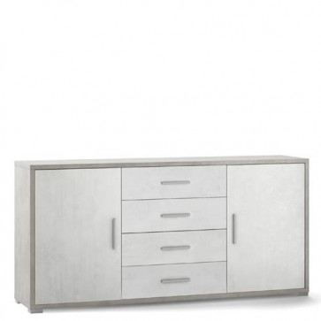 Mobile porta TV Sarmog con 4 cassetti bianchi. Mobili ufficio cemento con due ante, misure 174x41x84 cm.