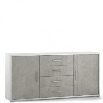 Mobile porta TV Sarmog con 4 cassetti cemento. Mobili ufficio bianco con due ante, misure 174x41x84 cm.