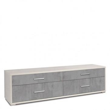 Mobile porta TV Sarmog con cassetto. Mobili ufficio basso bianco ossido con 4 cassetti cemento