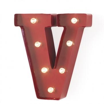 Lampada a forma di lettera luminosa V in ferro rosso anticato, lettere luminose con lucine led.