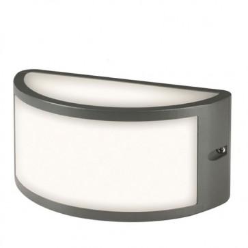 Applique lampada E27 da parete in pressofusione di alluminio grigio, lampade da esterno per giardino Sovil della linea Bia.