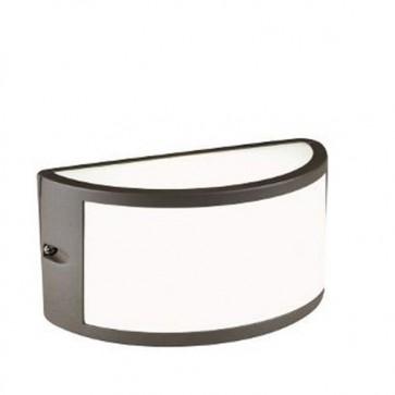 Applique lampada E27 da parete in pressofusione di alluminio marrone, lampade da esterno per giardino Sovil della linea Bia.