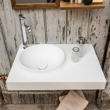 Lavandino bagno Atollo in resina bianca, lavabo Cipì da appoggio con top misure 90x50xh.10 cm.