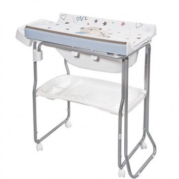 Bagnetto per neonato Primi sogni, con piano fasciatoio. Fasciatoi camerette neonati con vaschetta ergonomica estraibile e due ripiani portabiancheria