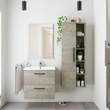 Colonna sospesa per mobile bagno Athena. Armadietto in legno per mobili Fores
