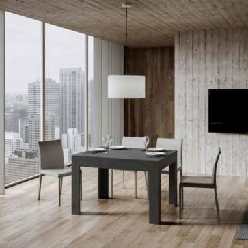 Tavolo da pranzo antracite spatolato allungabile fino a 180 cm, tavoli da cucina allungabili con allunga da 60 cm