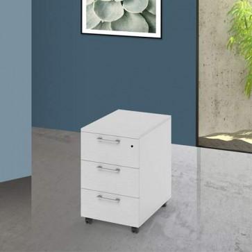 Cassettiera scrivania ufficio in legno 3 cassetti bianca, con serratura e ruote. Cassettiere scrivanie per arredamento camerette con rotelle e chiave.