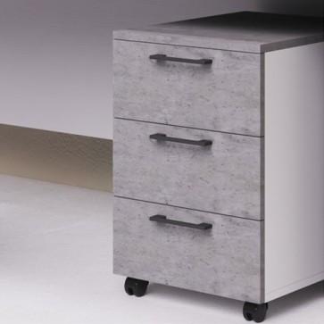 Cassettiera scrivania ufficio in legno 3 cassetti cemento, con serratura e ruote. Cassettiere scrivanie per arredamento camerette con rotelle e chiave.