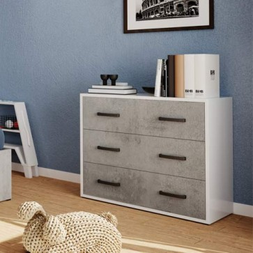 Cassettiera comò in legno nobilitato cemento con 3 cassetti. Mobile settimino ideale per camerette e camera da letto