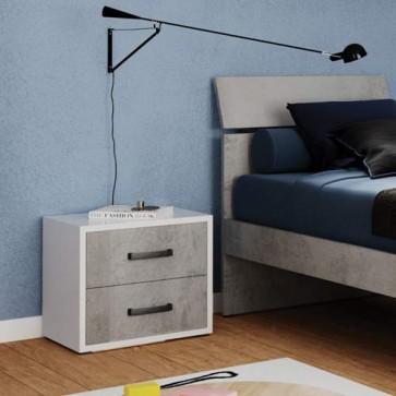 Comodino moderno cemento con 2 cassetti per cameretta bambini, comodini in legno ideali in camera da letto.