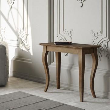 Tavolo consolle Bassano small allungabile a 201 cm, colore noce antico. Tavoli allungabili soggiorno con tre prolunghe e piedi a sciabola.
