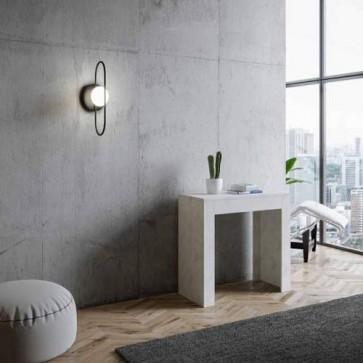 Tavolo consolle Emy small allungabile a 198 cm, colore bianco spatolato, tavoli consolle allungabili moderni