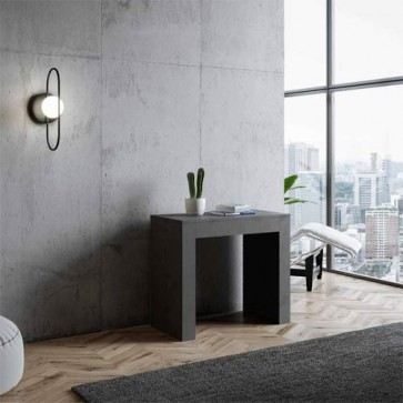 Tavolo consolle Emy allungabile a 302 cm, colore antracite spatolato. Tavoli consolle allungabili moderni con cinque allunghe.
